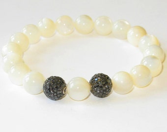 Black Diamond Ball and Mother of Pearl Bracelet
