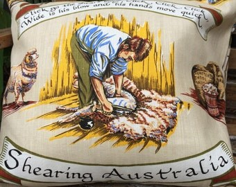 "Vintage ""Shearing Australia"" Cushion Cover"