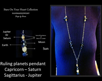 Capricorn Zodiac Necklaces,Astrology Ruling Planet Set With Matching Earrings.Sun,Earth,Moon, Saturn Or Jupiter And Their Moons