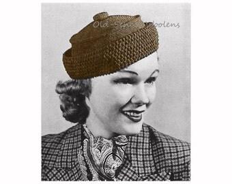 Vintage Crochet Pattern 1930s Women's Button-Topped Hat Chapeau PDF Instant Download 5-5