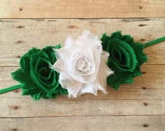St Patricks Day Baby Girl Headband, Green Baby Headband, Toddler Headband, Newborn Headband, Baby Hair Accessorie, Shabby Chic Headband