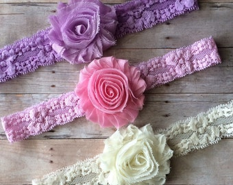 Set of 3 Baby Girl Headbands, Lace Headbands, Baby Shabby Chic headbands, Pink headband, Purple headband set, Headband Gift set, Newborn