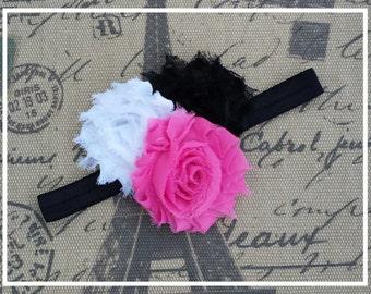 Shabby chic baby headband, Flower baby headband, Newborn Headband, toddler headband, child headband, Photo prop, black/pink/white