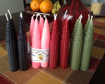 Beeswax Candle. 16 tapered Candles in natural bee wax or in coloured beeswax available. Choose your favourite colour combination