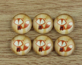 10 pcs 12mm Handmade photo glass cabochon cabs Fox --490-8