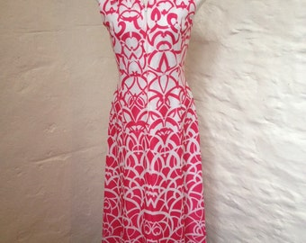 Dress Vintage Ladies Pride Hot Pink and White Maxi Dress Size 10 - 12