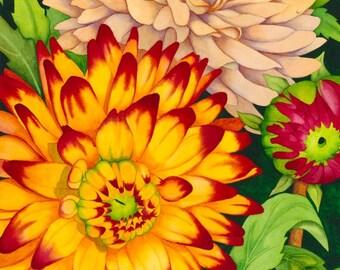 Watercolor painting...HOT DAHLIAS...dahlias...giclee