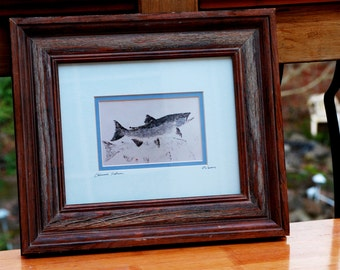 Gyotaku Photo Print of Chinook Salmon by Ron Warner 6x4 Framed and Matted             00063