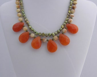Handmade Multi-Strand Pearl and Semi-Precious Stone Beaded Necklace