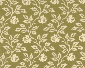 Sweet Sixteen by Laundry Basket Quilts for Moda  # 42033-19 Cream Floral on Olive Green Cotton Fabric