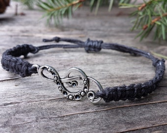 Hemp Treble Clef Music Bracelet