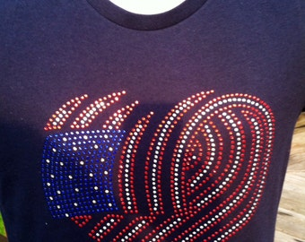 American Flag Heart with Red, Blue & Crystal Rhinestones