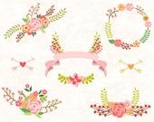 Digital Flower Clipart, Wedding floral Clip art, Floral Bouquet Clipart, Wedding flowers clip art, Flower Wreath Floral Frame Clipart 0149