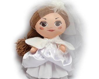 Cloth doll Bride 12'' (30 cm) in wedding dresses. Rag doll Cloth doll Art doll wedding doll Wedding gift bride doll modern doll white doll
