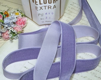 "1y VTG 1/"" FRENCH VIOLETTE LILAC PURPLE MOIRE RIBBON TRIM FLAPPER HAT COCARDE"