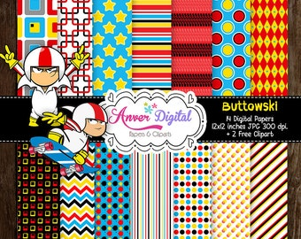 50% Off Sale!  Papers digital party Kick Buttowski Kit / Digital Papers Clipart / create invitations, labels and more!