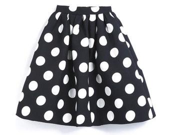 Black Polka Dot Flare Skirt