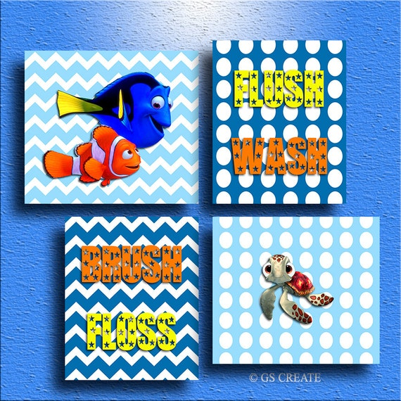 Finding nemo dory squirt baby boy gift bathroom wall by - Finding nemo bathroom sets ...