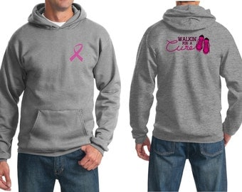 Breast Cancer Awareness Men's Hoodie Pink Ribbon Walkin For a Cure Front & Back Print Hoody FBWALKIN-PC90H