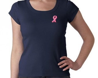 Breast Cancer Awareness Ladies Shirt Embroidered Ribbon Scoop Neck Tee T-Shirt EMBROIDERED-1003