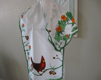 Beautiful Red Bird Scarf With Flowers, Leaves and Stems 1970s Era