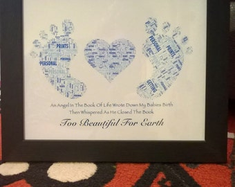 Baby Loss/Still Born/Miscarriage Personalised Memory Print