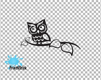 Owl On a Branch Cute Funny Novelty Animal Cartoon Car Window Laptop Phone Bumper Sticker Decal