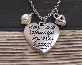 initial necklace, You Are Always in My Heart necklace, Swarovski cream pearl, Best Friend necklace, boyfriend girlfriend, his hers necklace
