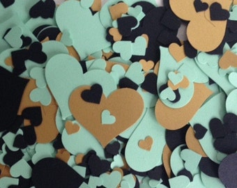 Wedding/Party table confetti mint, gold and glitter hearts