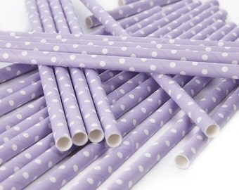 Lilac Paper Straws : Lilac with White Dot Straws (25 per pack)