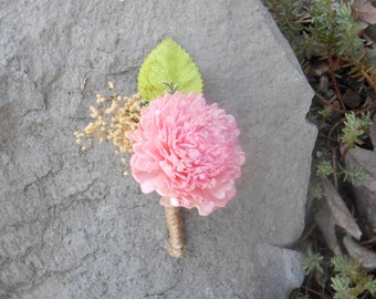 Pink Sola Flower Carnation Twine Boutonniere- Groomsmen, Wedding Flowers, Rustic Wedding, Wedding Boutonniere