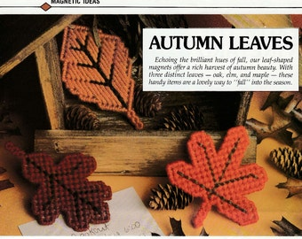 Autumn Maple, Oak and Elm Leaf Magnets in Plastic Canvas