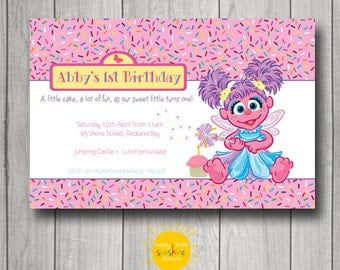 Girl Birthday Invitation Personalised Printable Any Age 1st Birthday Abby Cadabby Sesame Street