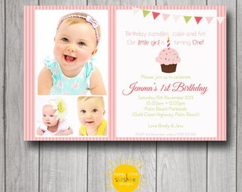 Girl Birthday Invitation Personalised Printable 1st Birthday Photo Invitation Birthday Cake