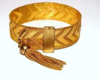 "Gold Tone Vintage Mesh Bracelet  8""  x  0.70"