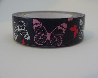 Washi masking black tape with butterflies 10 m/11 yards crafting tape washi decorative tape cardmaking tape scrapbook tape