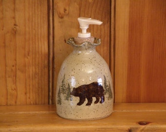 Woodland Soap Dispenser (Featuring Bear and Moose)