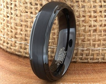 BlackTungsten Wedding Band Ring Stepped Edges Customized Tungsten Band Any Design Laser Engraved Ring Mens Tungsten Ring Anniversary Ring