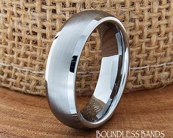 Tungsten Wedding Ring Dome Shaped Brushed Polished Edges Mens Wedding Band Custom Engraved Alternative Ring Couple Wedding Band Ring For Him