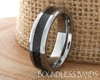 Tungsten Ring Tungsten Wedding Ring Mens Women's Tungsten Ring Black Carbon Fiber Anniversary Promise Engagement 6mm Matching Set Ring New
