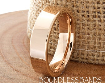 Tungsten Wedding Band Rose Gold Pipe Cut High Polished Customized Band Any Design Laser Engraved Ring Mens Anniversary BandRose Gold Plated