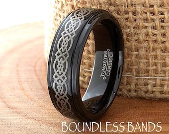 Black Tungsten Wedding Band Black Tungsten Ring Black Men Tungsten Rings Black Wedding Bands Black Wedding Band Celtic Knot Anniversary 6mm