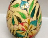 Wood hand painted egg Vintage Hand Painted Decorative Egg