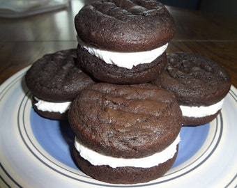 Soft & Creamy Homemade Dark Chocolate Whoopie Pies (Choice of Quantity)