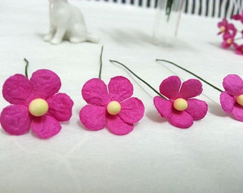 40 pcs. 15 mm  Mini Pink mulberry paper flowers