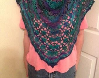 Women's hand made crochet accessory., Triangle  scarf,  shawl in soft acrylic yarn. Dragonfly.