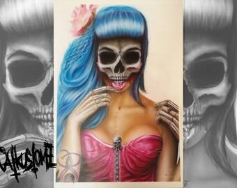 Skull face pinup blue hair tattoo