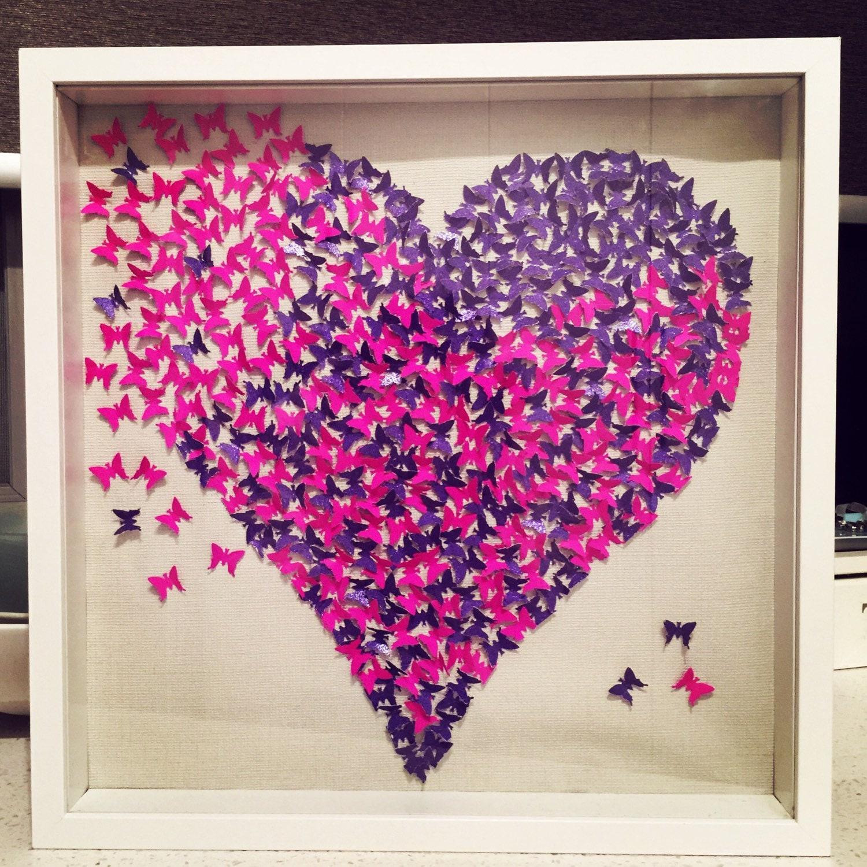 3d butterfly heart 3d butterfly wall art paper butterflies for Paper art butterfly