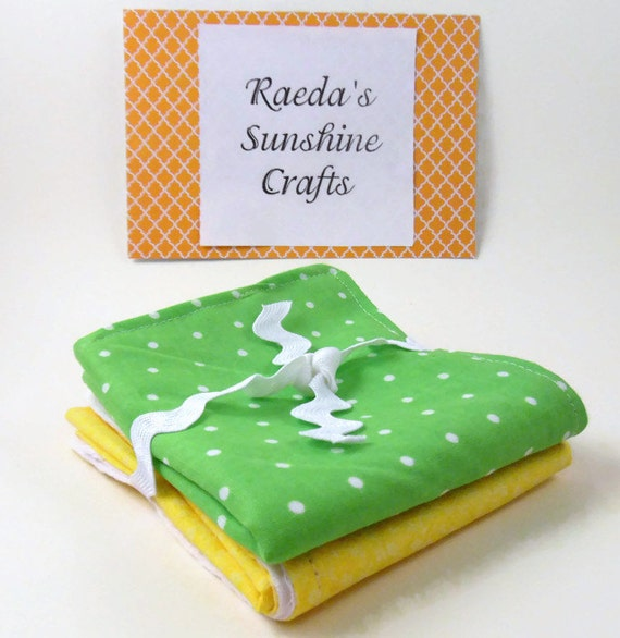 Burp Cloth Set of 2 Green Polka Dot and Yellow Floral Burpcloth Burpies