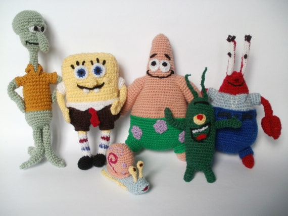 spongedob amigurumi pattern toys crocheted for by KnittedJoy1